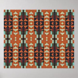 Poster Mosaïque tribale ethnique verte de rouge orange de