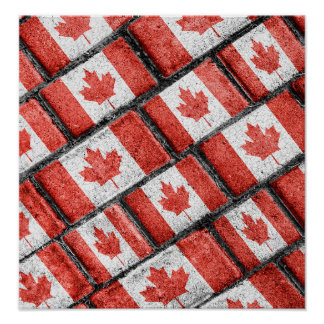 Poster Motif canadien de motif de drapeau
