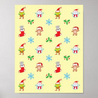 Poster Motif de Noël de souris, de bonhomme de neige, de