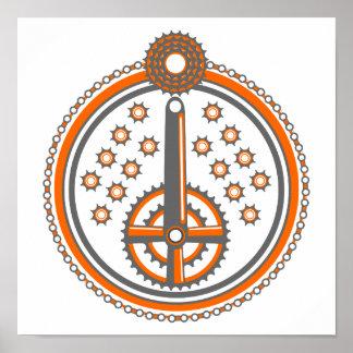 Poster Motif de pièces de vélo