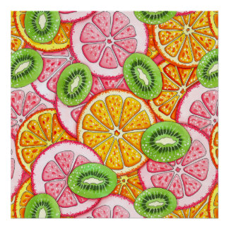 Poster Motif d'été. Fruit orange de pamplemousse et de