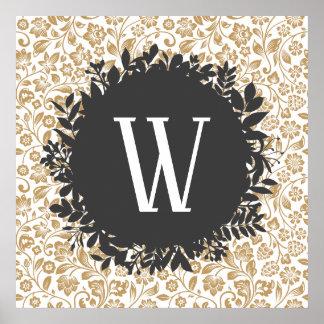 Poster Motif floral d'or avec le monogramme gris-foncé de