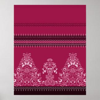 Poster Motif floral traditionnel rose de Paisley