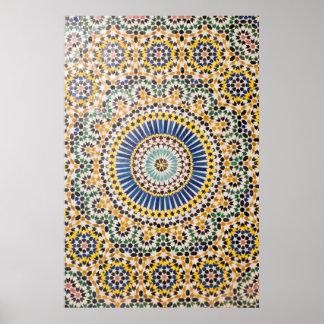 Poster Motif géométrique de tuile, Maroc