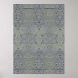 Poster Motif géométrique gris de kaléidoscope