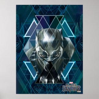 Poster Motif géométrique noir de caractère de la panthère