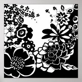 Poster Motif graphique de jardin floral noir et blanc