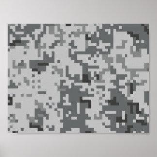 Poster Motif gris urbain de Camo de pixel