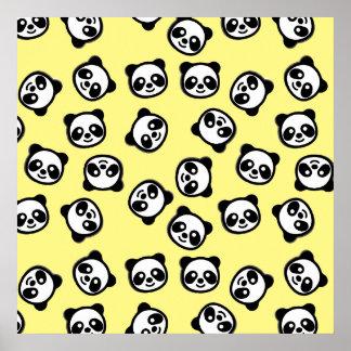 Poster Motif noir et blanc de bande dessinée de panda