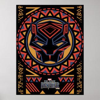 Poster Motif tribal de tête de panthère de la panthère