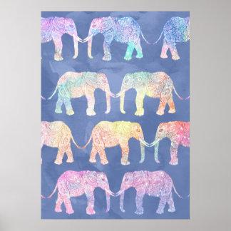 Poster Motif tribal d'éléphants de Paisley d'aquarelle de