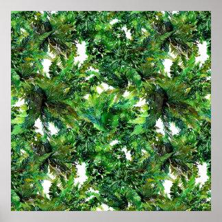 Poster Motif vert de chute de forêt de fougère