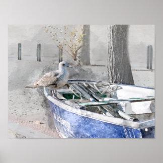 Poster Mouette sur l'aquarelle de bateau