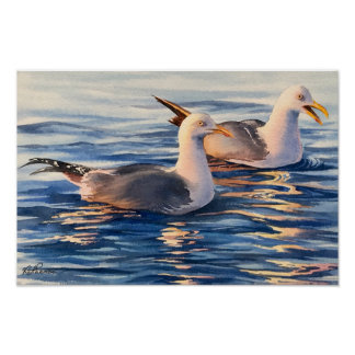 Poster Mouettes - affiche 16x10