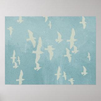 Poster Mouettes en vol sur le bleu turquoise, oiseaux de