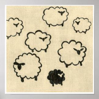 Poster Moutons blancs et noirs sur l'arrière - plan crème