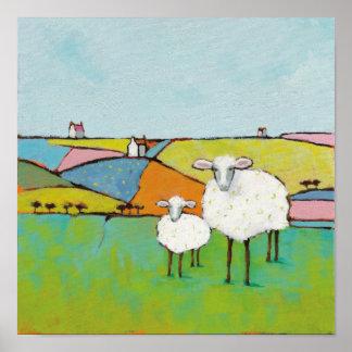 Poster Moutons dans le pré