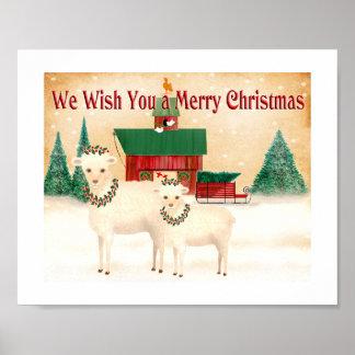 Poster Moutons de Noël. la ferme agnelle le rassemblement