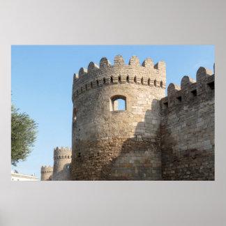 Poster Mur de tour de palais, Azerbaïdjan