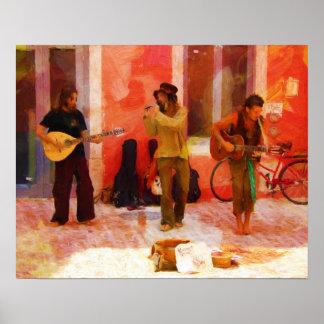 Poster Musiciens de rue jouant la mandoline et la