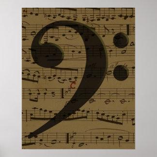 Poster Musique de feuille musicale de clef basse