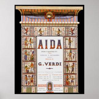 Poster Musique vintage d'opéra, Egyptien Aida par Verdi