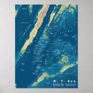 Poster N.Y. Carte de hausse de mer, ' mer 100