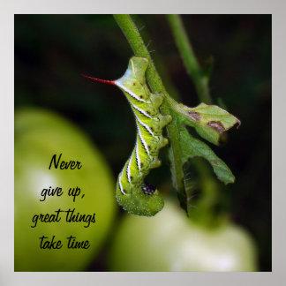 Poster N'abandonnez jamais l'affiche de Caterpillar