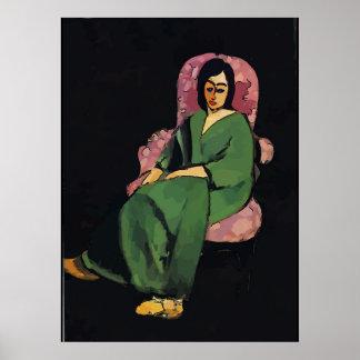 Poster Nancy dans vert, se reposant, style de Matisse