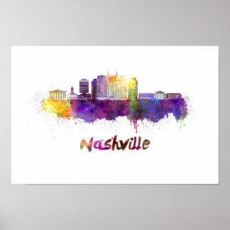 Poster Nashville skyline in watercolor