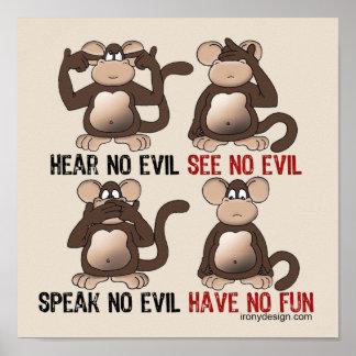Poster N'ayez aucun humour de singes d'amusement