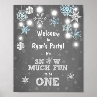 Poster Neige bleue de flocons de neige de signe bienvenu