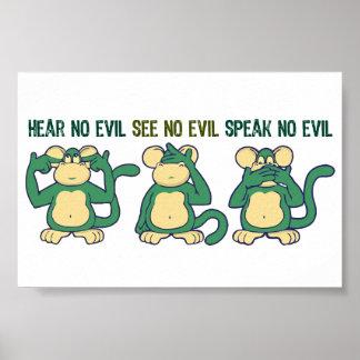 Poster N'entendez aucun vert de singes de mal