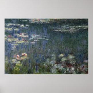 Poster Nénuphars de Claude Monet | : Réflexions vertes