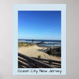 Poster New Jersey de ville d'océan de plage