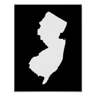 Poster New Jersey noir et blanc