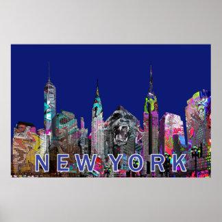 Poster New York City dans le graffiti