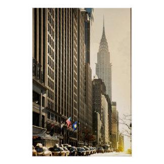 Poster New York, St d'E 42 et construction de Chrysler
