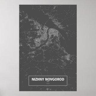 Poster Nijni-Novgorod, Russie (blanche sur le noir)