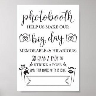 Poster Noce Sign-5x7 de Photobooth Hashtag