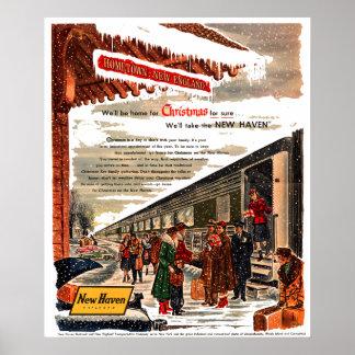 Poster Noël 1947 de chemin de fer de New Haven