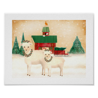 Poster Noël à la ferme de moutons ajoutent votre propre