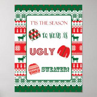 Poster Noël - chandail laid - de mauvais goût - signe