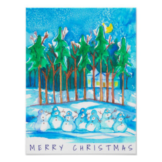 Poster Noël de bonhomme de neige de paysage d'hiver
