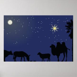 Poster Noël de contexte de scène de nativité