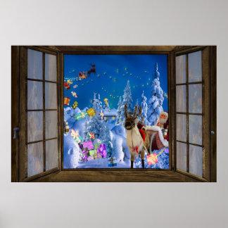 Poster Noël de vue de fenêtre