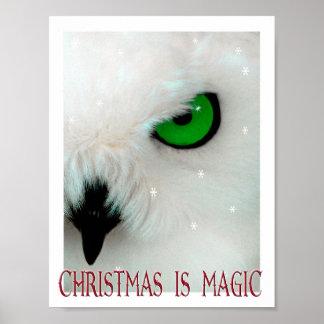 Poster Noël est enfant magique d'art de magicien de hibou