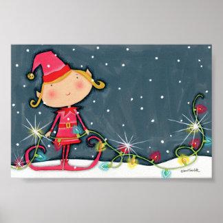 Poster Noël lumineux Elf