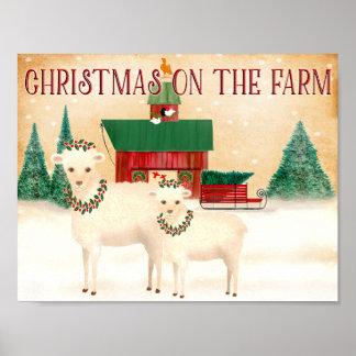 Poster Noël sur les moutons de ferme agnelle vivant en