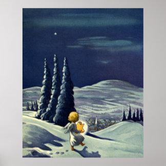 Poster Noël vintage, ange de neige marchant avec une